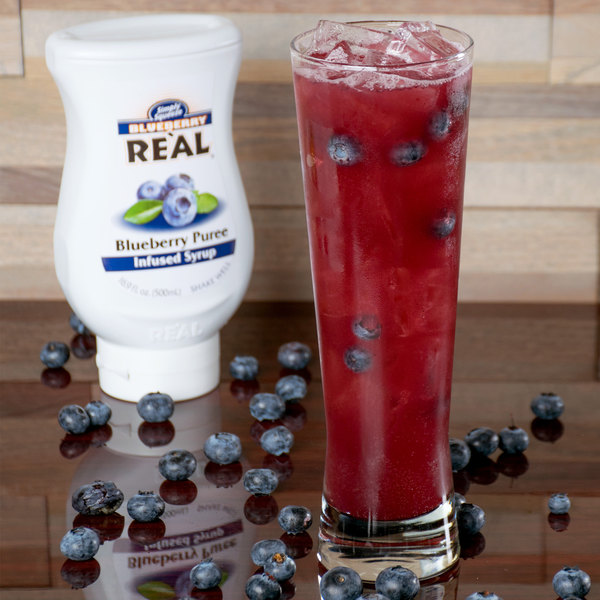 Real 16.9 fl. oz. Blueberry Puree Infused Syrup Main Image 5