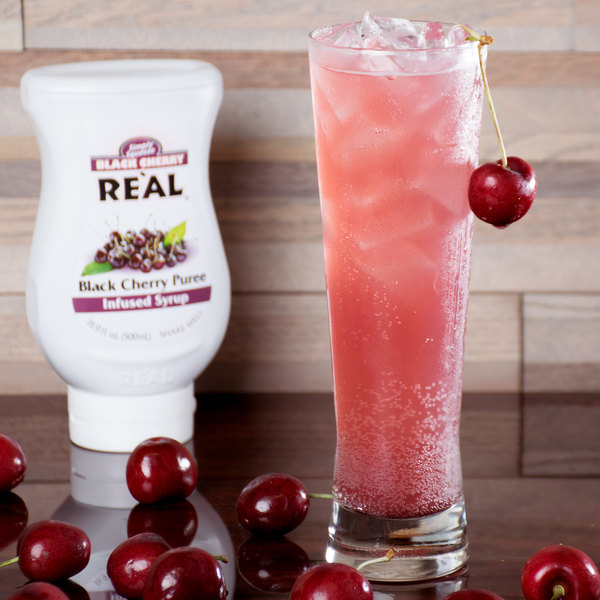 Real 16.9 fl. oz. Black Cherry Puree Infused Syrup
