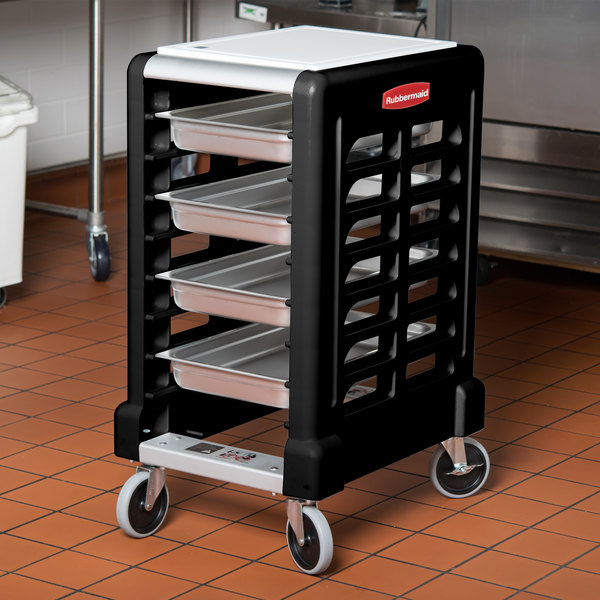 Rubbermaid FG331500BLA ProServe 8 Pan Black Max System End Load Prep Cart with Cutting Board - Unassembled Main Image 12