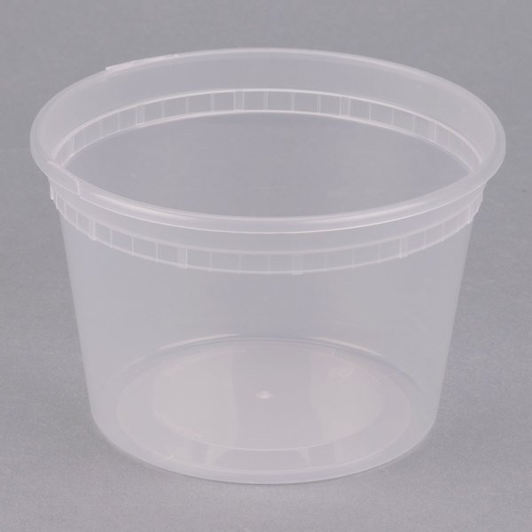 ChoiceHD 16 oz. Microwavable Translucent Plastic Deli Container - 48/Pack
