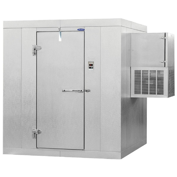 "Left Hinged Door Nor-Lake KLB7768-W Kold Locker 6' x 8' x 7' 7"" Indoor Walk-In Cooler with Wall Mounted Refrigeration"