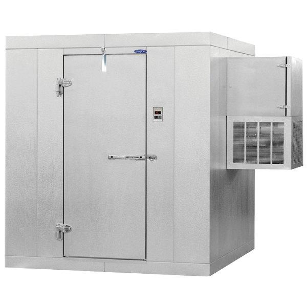 "Left Hinged Door Nor-Lake KLF7766-W Kold Locker 6' x 6' x 7' 7"" Indoor Walk-In Freezer with Wall Mounted Refrigeration"