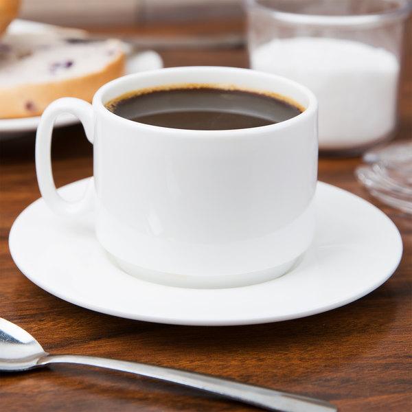 10 Strawberry Street B4521B4523 Izabel Lam Pond 8 oz. White Bone China Coffee Cup and Saucer Set - 24/Case Main Image 3