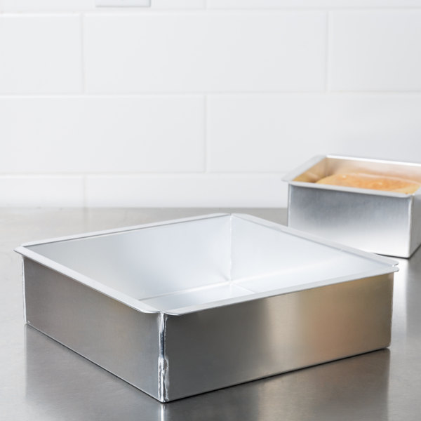 "Ateco 12010 10"" x 10"" x 3"" Aluminum Square Straight-Sided Cake Pan"