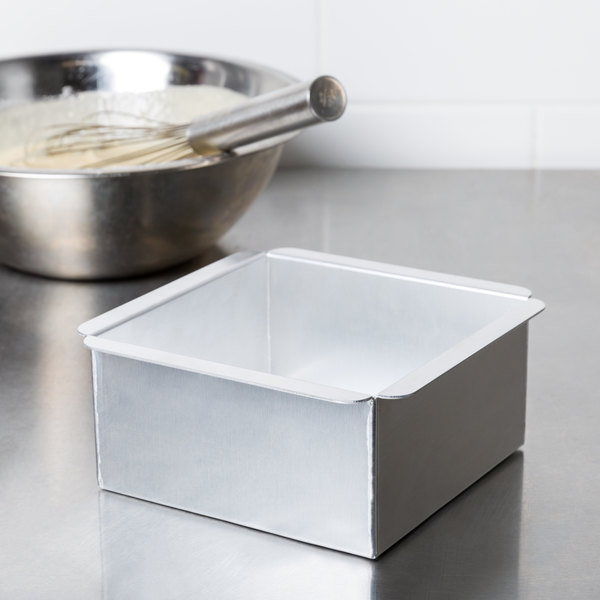 "Ateco 12066 6"" x 6"" x 3"" Aluminum Square Straight-Sided Cake Pan"