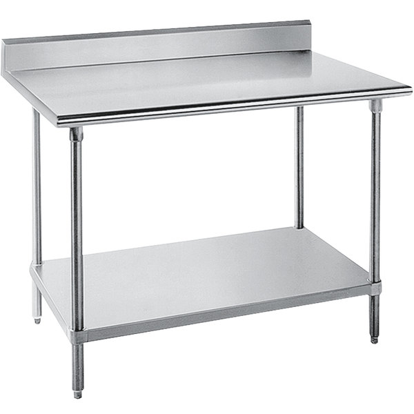 "Advance Tabco SKG-304 30"" x 48"" 16 Gauge Super Saver Stainless Steel Commercial Work Table with Undershelf and 5"" Backsplash"
