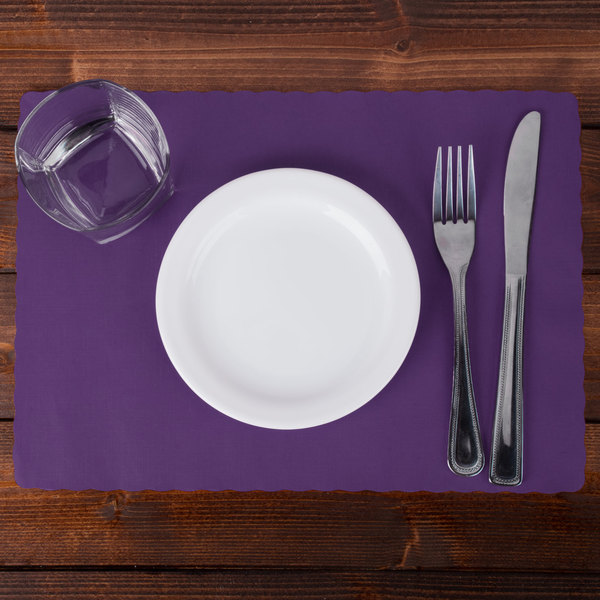 """Hoffmaster 310557 10"""" x 14"""" Purple Colored Paper Placemat with Scalloped Edge - 1000/Case"""