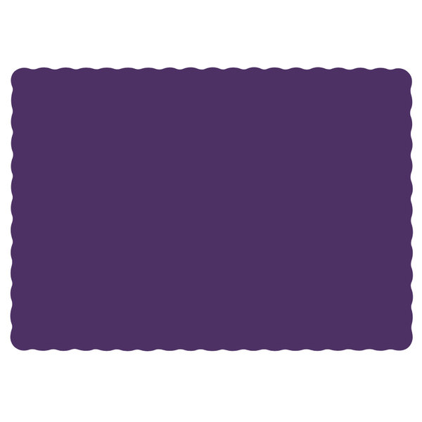"Hoffmaster 310557 10"" x 14"" Purple Colored Paper Placemat with Scalloped Edge - 1000/Case"