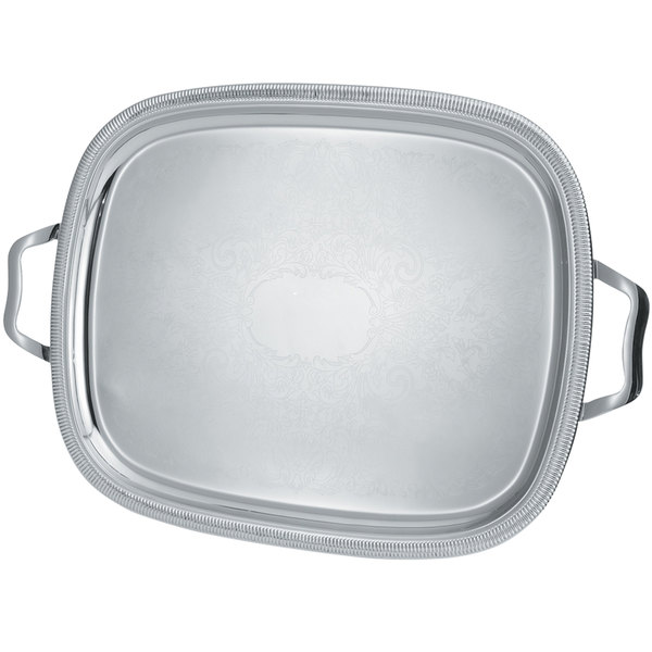 """Vollrath 82373 Elegant Reflections 23 1/2"""" x 18 1/8"""" Silver Plated Stainless Steel Oblong Catering Tray with Handles"""