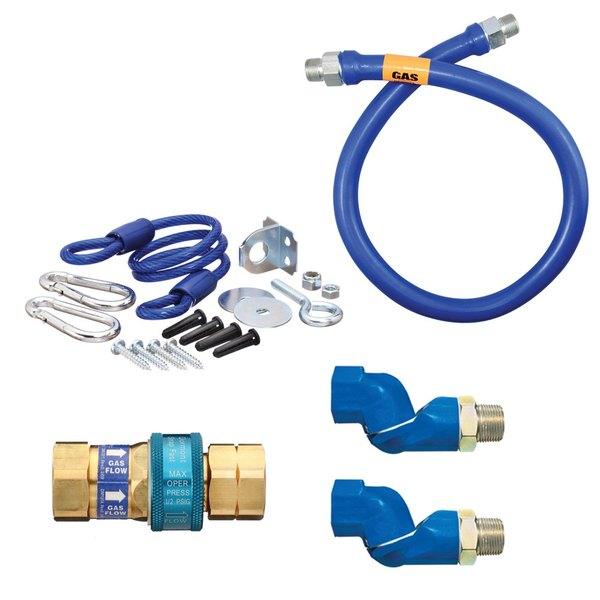 """Dormont 1675BPQ2SR48 SnapFast® 48"""" Gas Connector Kit with Two Swivels and Restraining Cable - 3/4"""" Diameter"""