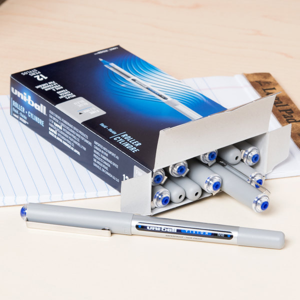Uni-Ball 60134 Vision Blue Ink with Gray Barrel 0.7mm Roller Ball Waterproof Stick Pen - 12/Box Main Image 9