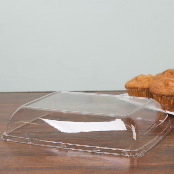 """Sabert 5608 Mozaik 8"""" x 11"""" Clear Plastic Platter / Catering Tray High Dome Lid - 72/Case"""