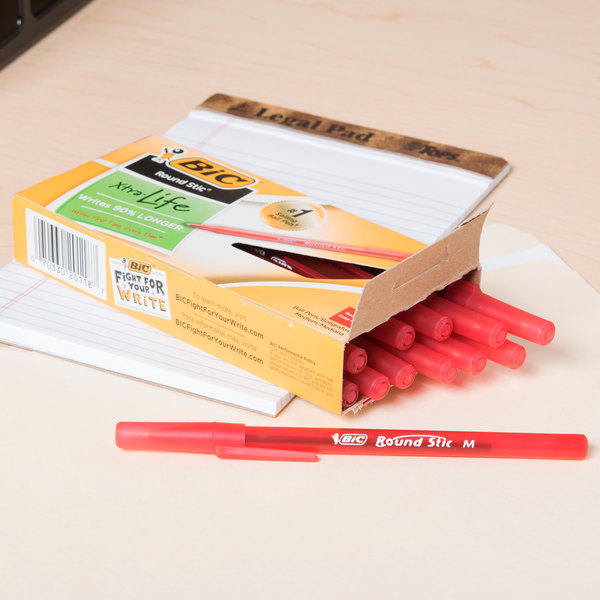 Bic GSM11RD Red Medium Point 1mm Round Stic Ballpoint Pen - 12/Pack Main Image 9