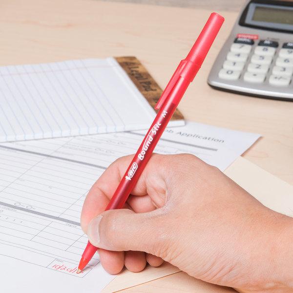BIC Round Stic Medium Ballpoint Pens 10//Pkg-Red