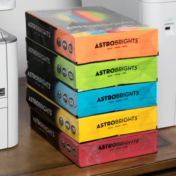 """Astrobrights 22999 8 1/2"""" x 11"""" Assorted Case of 24# Smooth Color Copy Paper - 2500 Sheets"""