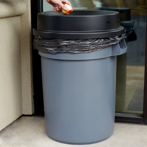 32 Gallon Gray/Black Round Trash Can with Black Funnel Top Lid Main Image 7