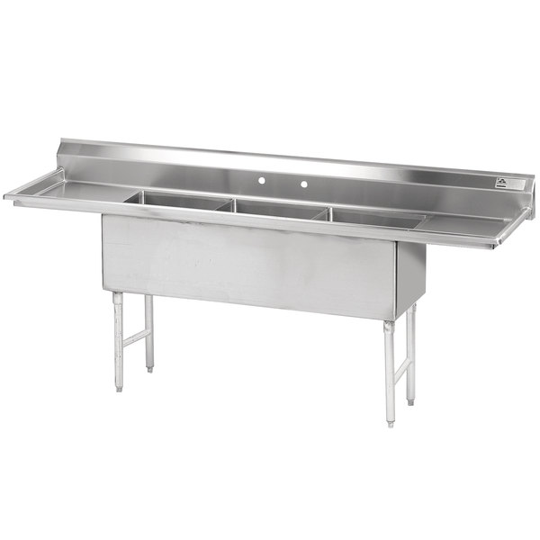 """Advance Tabco FS-3-2424-24RL Spec Line Fabricated Three Compartment Pot Sink with Two Drainboards - 120"""""""