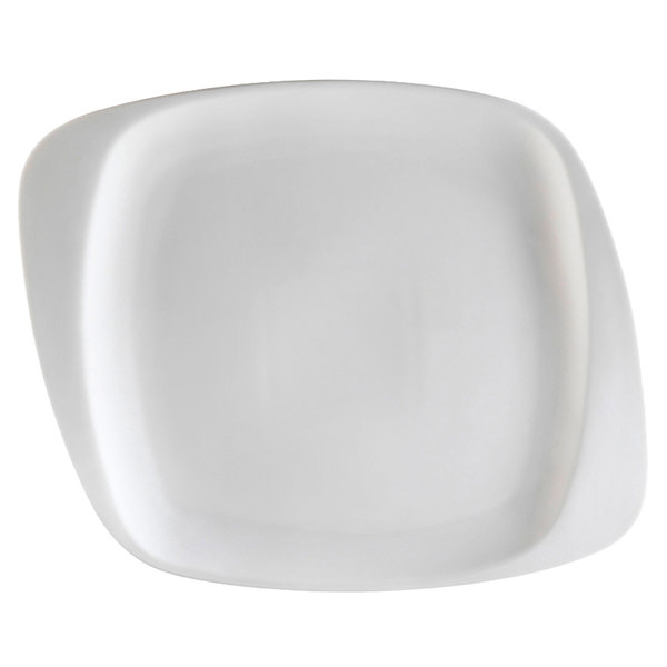 "CAC WH-6 White Pearl 6 1/2"" New Bone White Porcelain Square Plate - 36/Case"