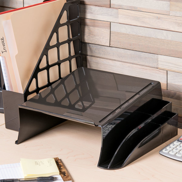 "Universal UNV08116 12 1/4"" x 10 1/2"" x 5 1/4"" Black Telephone Stand and Message Center"
