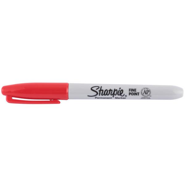Sharpie 30002 Red Fine Point Permanent Marker - 12/Box
