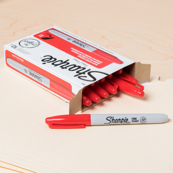 Sharpie 30002 Red Fine Point Permanent Marker - 12/Box Main Image 8