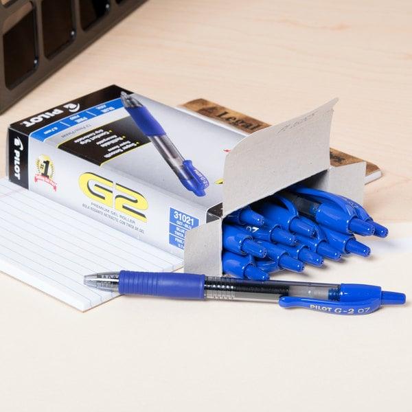 Pilot PIL31021 Blue Fine Point 0.7mm G2 Premium Retractable Rollerball Gel Ink Pen - 12/Pack