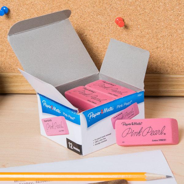 Paper Mate 70521 Large Pink Pearl Eraser - 12/Pack Main Image 7