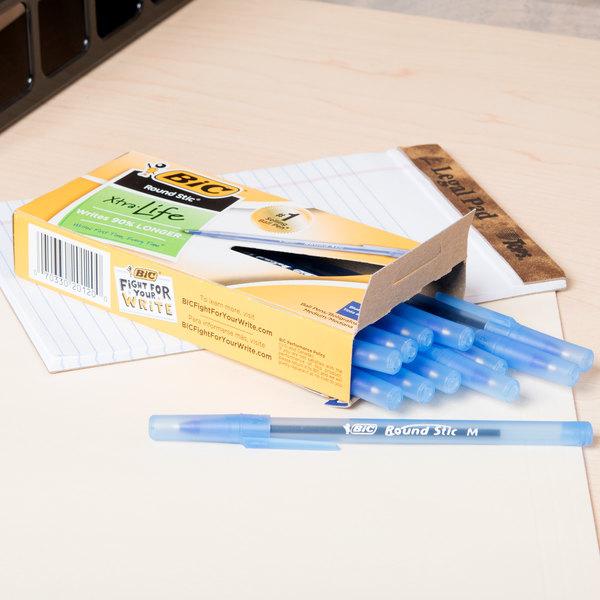 Bic GSM11BE Blue Medium Point 1mm Round Stic Ballpoint Pen - 12/Pack