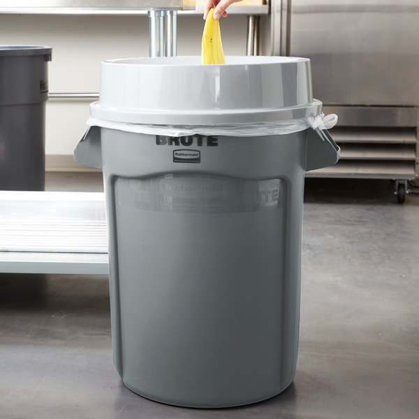 5be34c3efa3 Rubbermaid BRUTE 32 Gallon Gray Trash Can with Funnel Top Lid