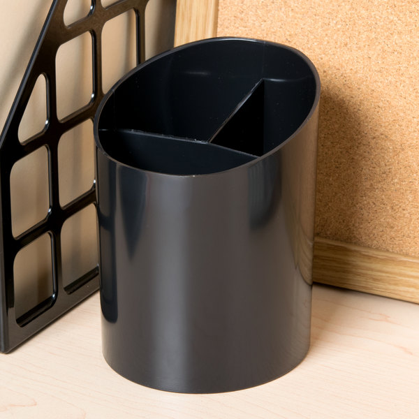 "Universal UNV08108 4 1/4"" x 5 3/4"" Black Plastic Recycled Big Pencil Cup Main Image 5"