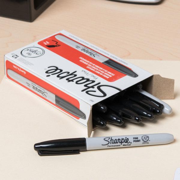 Sharpie 30001 Black Fine Point Permanent Marker - 12/Box