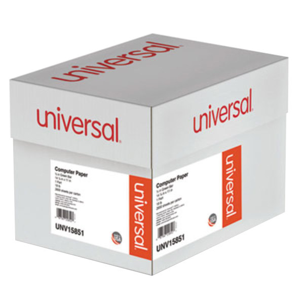 """Universal UNV15851 11"""" x 14 7/8"""" Green Bar Case of 18# Perforated Continuous Print Computer Paper - 2600 Sheets Main Image 1"""