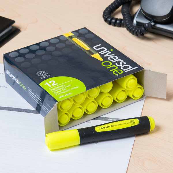 Universal UNV18861 Fluorescent Yellow Chisel Tip Desk Style Highlighter with Comfort Grip - 12/Box