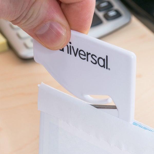 "Universal UNV31803 2 1/2"" White Concealed Blade Letter Slitter / Hand Letter Opener - 3/Pack"