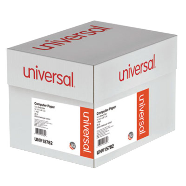 "Universal UNV15782 8 1/2"" x 14 7/8"" Green Bar Case of 20# Perforated Continuous Print Computer Paper - 2600 Sheets"