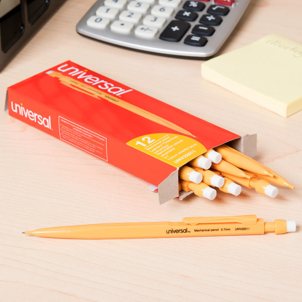 Universal UNV22011 Yellow Barrel 0.7mm HB Lead #2 Mechanical Pencil - 12/Pack