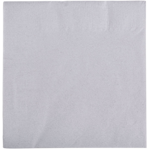 Choice 10 inch x 10 inch Silver/Gray 2-Ply Beverage / Cocktail Napkins - 250 / Pack