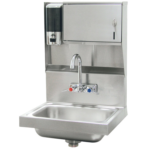 """Advance Tabco 7-PS-79 Hand Sink with Soap and Paper Towel Dispenser - 17 1/4"""" x 15 1/4"""""""