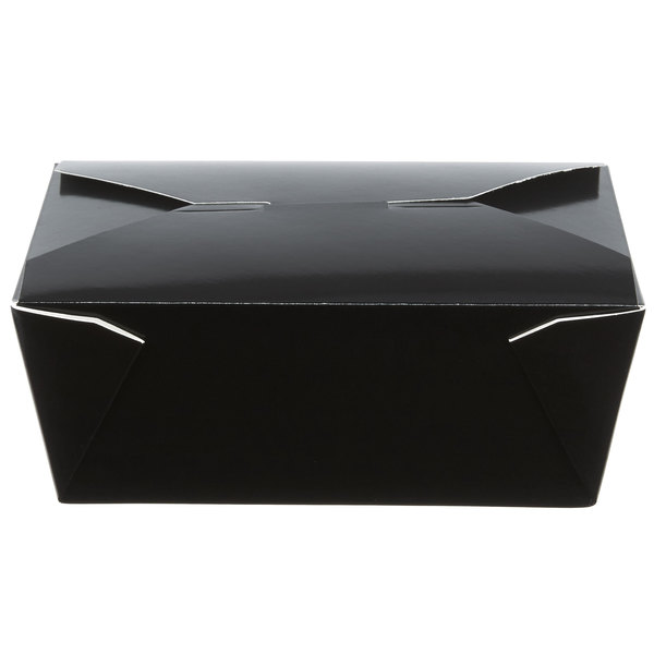 Choice 6 inch x 5 3/4 inch x 2 1/2 inch Black Microwavable Folded Paper #8 Take-Out Container - 50/Pack