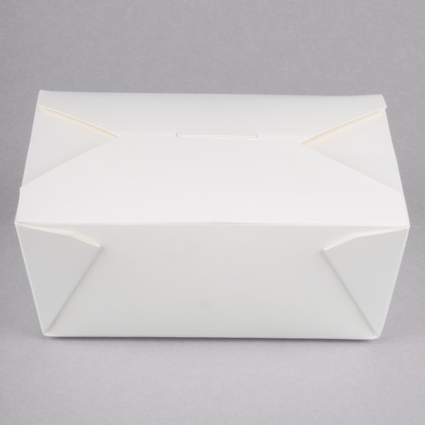 Choice 6 3/4 inch x 5 1/2 inch x 2 1/2 inch White Microwavable Folded Paper #8 Take-Out Container - 50/Pack