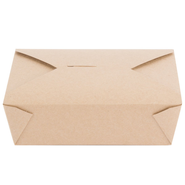 Choice 8 1/2 inch x 6 inch x 2 1/2 inch Kraft Microwavable Folded Paper #3 Take-Out Container - 50/Pack