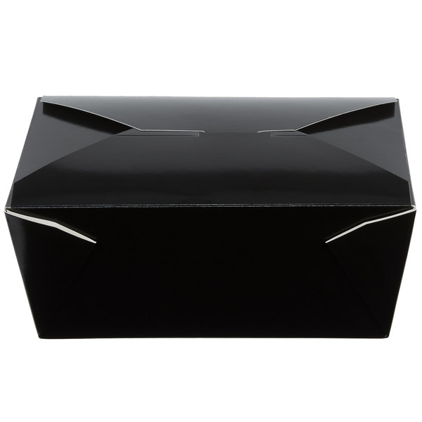 Choice 8 3/4 inch x 6 1/2 inch x 3 1/2 inch Black Microwavable Folded Paper #4 Take-Out Container - 40/Pack