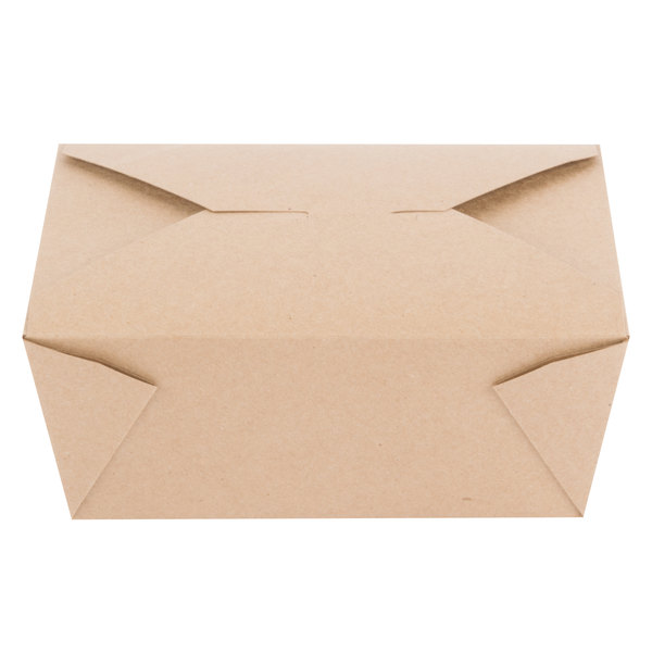 Choice 8 3/4 x 6 1/2 inch x 3 1/2 inch Kraft Microwavable Folded Paper #4 Take-Out Container  - 40/Pack