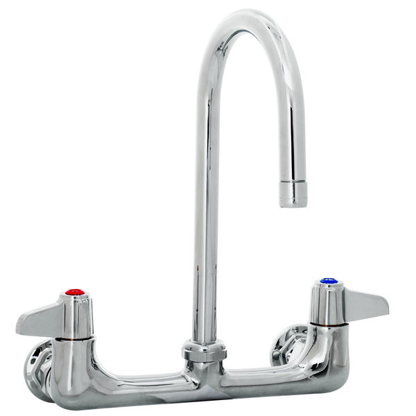 "Equip by T&S 5F-8WLX05 Wall Mount Swivel Gooseneck Faucet with 8"" Centers - 11 1/2"" High with 5 1/2"" Spread"