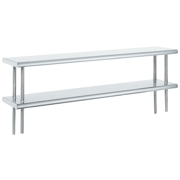 """Advance Tabco ODS-12-72 12"""" x 72"""" Table Mounted Double Deck Stainless Steel Shelving Unit"""
