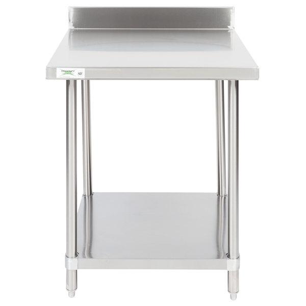 "Regency 30"" x 30"" 16-Gauge Stainless Steel Commercial Work Table with 4"" Backsplash and Undershelf"