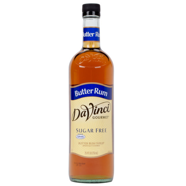 DaVinci Gourmet 750 mL Butter Rum Sugar Free Coffee Flavoring Syrup