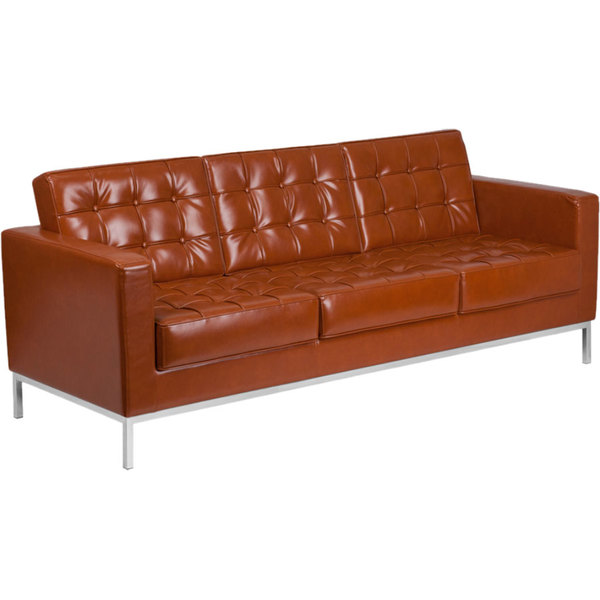 Flash Furniture ZB-LACEY-831-2-SOFA-COG-GG Hercules Lacey Cognac Contemporary Leather Sofa with Stainless Steel Frame