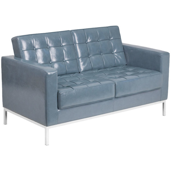Flash Furniture ZB-LACEY-831-2-LS-GY-GG Hercules Lacey Gray Contemporary Leather Loveseat with Stainless Steel Frame Main Image 1
