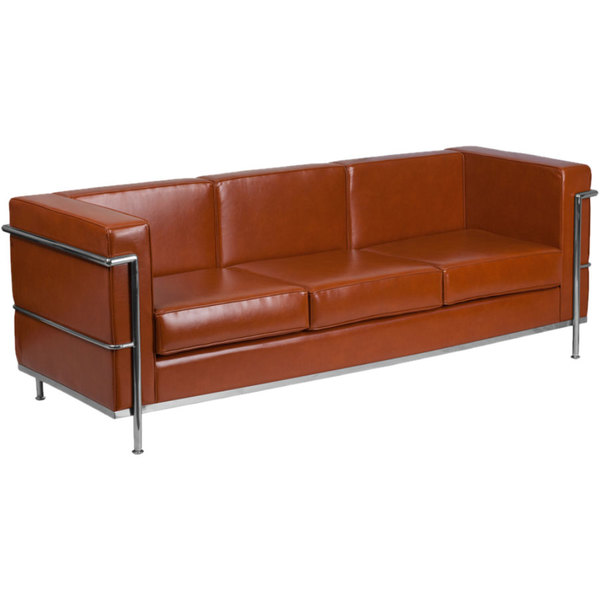 Flash Furniture ZB-REGAL-810-3-SOFA-COG-GG Hercules Regal Cognac Contemporary Leather Sofa with Stainless Steel Frame
